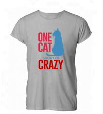 One Cat Short Of Crazy Funny Lady Kitten Feline Womens Mens T-Shirt Grey