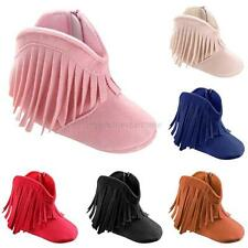 Baby Boy Girl Tassel Boots Shoes Newborn Toddler Winter Fringe Soft Soled Shoes