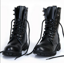 Miliarty Combat Men's Leather Lace Up Punk Motorcycle Biker Gothic Rock Boots