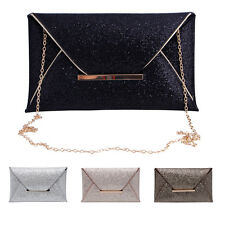 New Women Glitter Sequins Handbag Envelope Evening Party Clutch Bag Purse Wallet