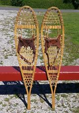 GREAT Vintage PICKEREL SNOWSHOES 45x10 w/ LEATHER BINDINGS Snow Shoes W@W !