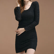 NEW Women Ladies Pleated Slim Fitted Round/Crew Neck Long Sleeve Sexy Mini Dress