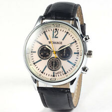 Three Fake Dial PU Leather Strap Quartz Wristwatches Vintage Fashion Men Watch