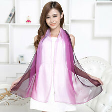 Ladies Long Multicolor Ombre Chiffon Scarf Wrap Shawl Girls Large Silk Scarves