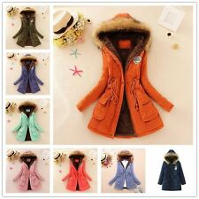 Women Down Coat Parka Casual Outerwear Military Hooded Winter Fur Jacket S-XXXL
