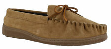 Mens  Tan Genuine Suede Moccasins Hard Sole Moccs Slippers Shoes