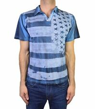 NEW ROCKSTAR SUSHI MEN'S 'VF022' COLLARED V-NECK TEE DISTRESSED FRONT FLAG BLUE
