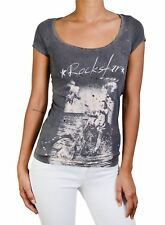 NEW ROCKSTAR SUSHI WOMEN'S 'VF003' TEE SCOOP NECK FRONT SKULL BIKER PRINT GREY