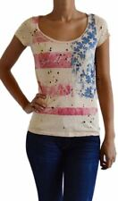 NEW ROCKSTAR SUSHI WOMEN'S 'VF003B' TEE SCOOP NECK FRONT DISTRESSED FLAG BEIGE