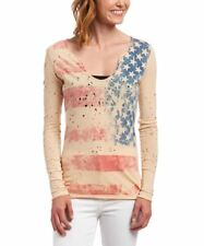 NEW ROCKSTAR SUSHI WOMEN'S 'VF014' TEE V-NECK LONG SLEEVE DISTRESSED FLAG BEIGE