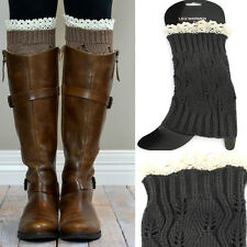 Women Crochet Knit Lace Shoes Boot toppers Leg or Arm Warmers Cuffs Knee LEGGING