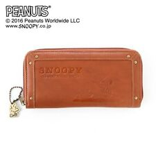 PEANUTS SNOOPY Round Zip Long Wallet Coin Card Case Purse from Japan E2029
