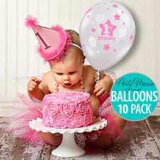 BOY OR GIRL 1ST FIRST BIRTHDAY PARTY SUPPLIES DECORATIONS BALLOONS PACK OF 10