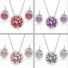 Romantic Wedding Zircon Round Pendant Ear Earring Necklace Fine Jewelry Beauty
