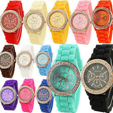 Fashion Ladies Women Girl Geneva Silicone Quartz Crystal Stone Jelly Wrist Watch
