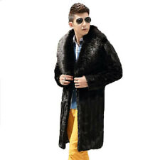 Winter Men Faux Fur Coats Black Fashion Mink Fur Coat Fox Fur Collar Long Jacket