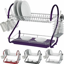 DELUXE 2 TIER HROME PLATE DISH CUTLERY PLATES HOLDER CUP DRAINER RACK DRIP TRAY