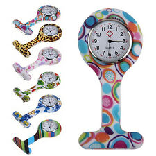 Terrific Nifty Chic Patterned Dial Silicone Nurses Brooch Tunic Fob Pocket Watch