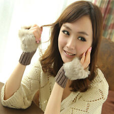 Unique Ladies Fingerless Faux Fur Wrist Knitted Wool Mitten Gloves Winter Warm