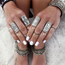 New Unique Carved Chunky Vintage Silver Ethnic Wide Beauty Women's Band Ring