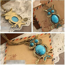 Trendy Vintage Turquoise Pendant Chain Necklace Owl Crystal Big Eyes Fad Jewelry