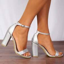 SILVER METALLIC BARELY THERE STRAPPY SANDALS PEEP TOES HIGH HEELS ANKLE STRAP