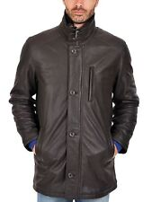 Black Leather Trench Coat For Men's New Style Genuine Soft Ship Napa Leather