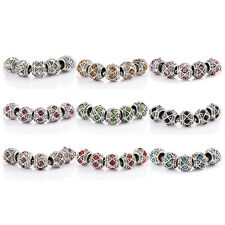 10pcs Silver plated cute crystal love charm beads Fit bracelets chain wholesale