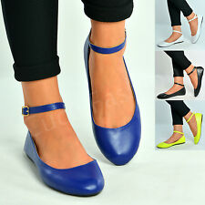 New Womens Ankle Strap Ballerina Ladies Pumps Ballet Flats Shoes Size Uk 3-8