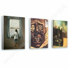 CANVAS +GIFT Woman Window Face War Horseman Salvador Dali Set Of 3 Prints
