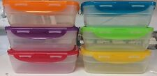 Lock & Lock Set of 6 Clear Rectangle Food Storage Containers w/multicolored lids