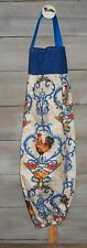 Roosters Hens French Blue Provincial Plastic Grocery Bag Rag Sock Holder HCF&D
