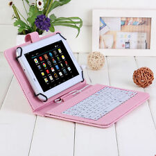"""7"""" Leather Case Cover Micro USB Keyboard w/Stylus for Android Tablet Pink/Black"""