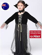 Kid Girl Child Fancy Halloween Party Black Witch wizard Costume long Dress PROP