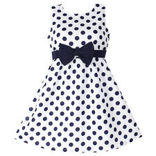 Girls Dress Polka Dot Bow 100%  Cotton Party BirthdayKids Clothing Size 4-12