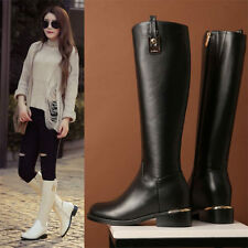 Womens Miliary Buckle Real Leather Knee High Boots Snow Winter Round Toe Oxfords