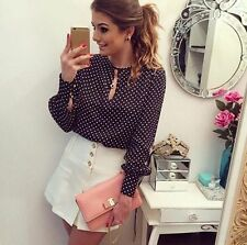 Shirt Women Style Casual Round Neck Long Sleeve Tops Chiffon Blouses Summer