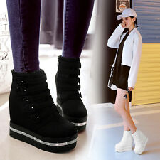 Fashion Womens Gothic Ankle Boots Punk Buckle Shoes Wedge High Platform Heels