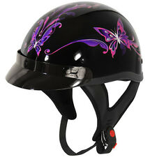 Outlaw T-70 Purple Butterfly Glossy Motorcycle Half Helmet sizes XS - L