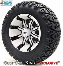 "12"" Tempest White and Black Wheels- X-Trail Tires+GTW Quality Golf Cart Lift Kit"