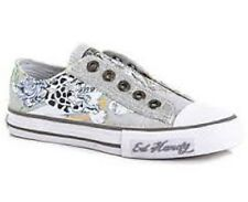 BRAND NEW ED HARDY KIDS GLAMMER SHOES WHITE AND SILVER  US SIZE 1 , 2 , 3 , 4