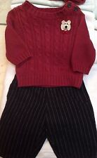 NEW SET OUTFIT BURGUNDY NAVY BLUE SWEATER PANT BOYS BABY INFANT NEWBORN 3 MONTHS