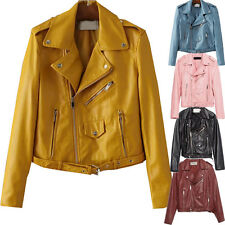 NEW Women PU Leather Motorcycle Jacket Lady Short Slim Fit Solid Sweatshirt Coat
