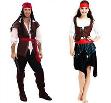 Lady Men Buccaneer Caribbean Pirate Outfit Fancy Dress Captain Jack Sparrow Stag
