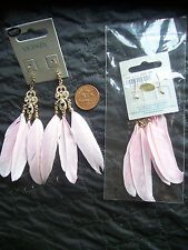 BNWT Beautiful Pale Pink Feather & Gemstone Drop Earrings For Pierced Ears NEW