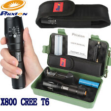 8000LM 5Mode Zoomable XML XM-L T6 LED 18650/AAA Flashlight Torch+Battery+Charger
