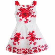 Girls Dress Red Flower Print Party Pageant Birthday Children Clothes Size 6-12