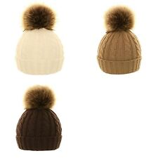 SKI WINTER HAT CABLE KNIT KNITTED WOOLY BEANIE LARGE FAUX FUR POM POM LADIES