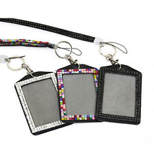 Bling Rhinestone Crystal Cell Phone Vertical ID Badge Holder Lanyard Necklace