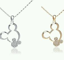 MICKEY MOUSE Disney Crystal Bling Necklace with double mouse pendant